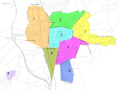 Distribució dels barris de Vic en Zones